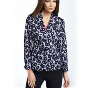 Lafayette 148 purple animal print blazer